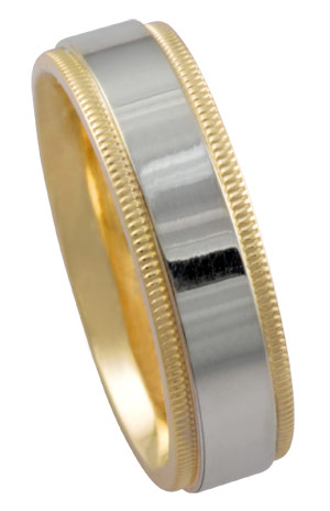 Two Tone Gold Designer Wedding Band 5.5mm TT-395A