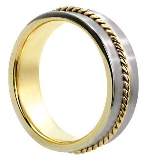 Two Tone Gold Designer Wedding Band 6mm TT-468A