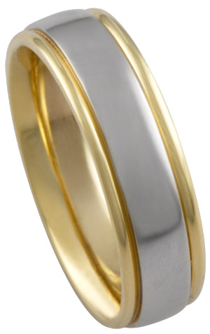 Two Tone Gold Polished Wedding Band 6mm TT-470