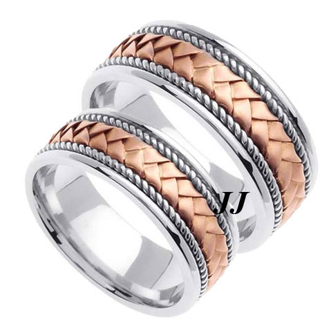 Two Tone Gold Hand Braided Wedding Band Set 8mm TT-154S