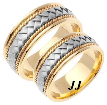 Two Tone Gold Hand Braided Wedding Band Set 8mm TT-156S
