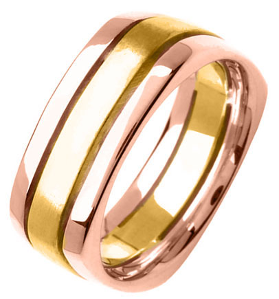 Two Tone Gold Flat on Square Wedding Band 8mm TT-354B