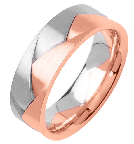 Two Tone Gold Designer Wedding Band 7mm TT-356A