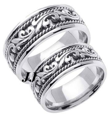 White Gold Paisley Wedding Band Set 8mm & 9mm WG-265S