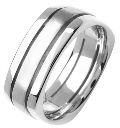 White Gold Flat on Square Wedding Band 8mm WG-354
