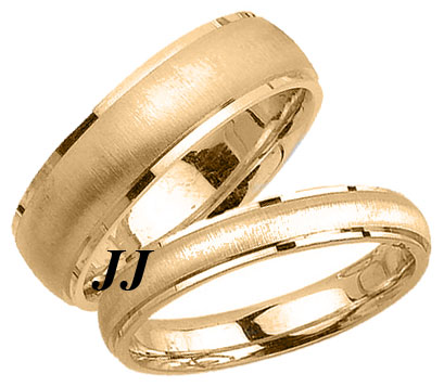 Yellow Gold Sandblasted Wedding Band Set 4mm & 6.5mm YG-1758S