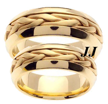 Yellow Gold Hand Braided Wedding Band Set 7mm YG-260S